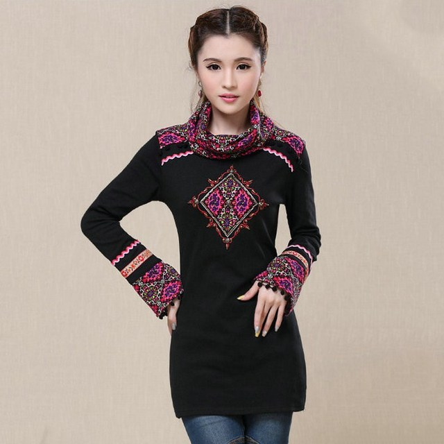 Autumn Sexy Winter Tops Embroidery Beaded Turtleneck Knitted Long Sleeve T-shirts Women Shirt Clothes Casual Tops