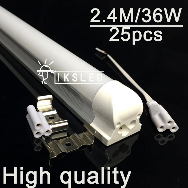 2016 NEW 25pcsT8 integrated led tube 2400mm 36W  85-265V 8 ft led tube light 3600LMS 3 year warranty free shipping by fedex new original xs7c1a1dbm8 xs7c1a1dbm8c warranty for two year