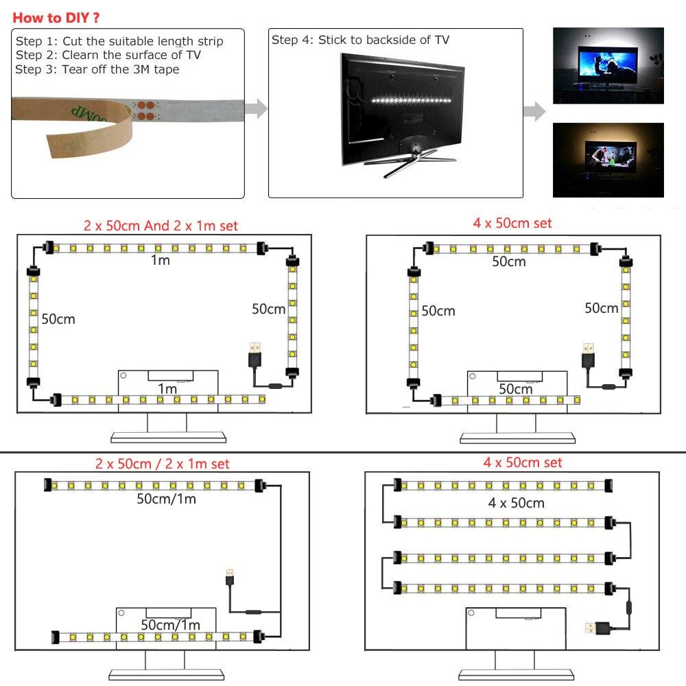 USB LED Strip Light Bluetooth 5V Tira LED RGB Tape Ambilight TV Wifi Waterproof SMD5050 Music TV Backlight Flexible Stripe Light in LED Strips from Lights Lighting