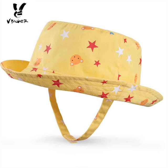 493f84f0d53 Vbiger Unisex Baby Kids Sun Hat Cotton Fisherman Hat Children Cool Star  Pattern Jean Sunhat with Chin Strap
