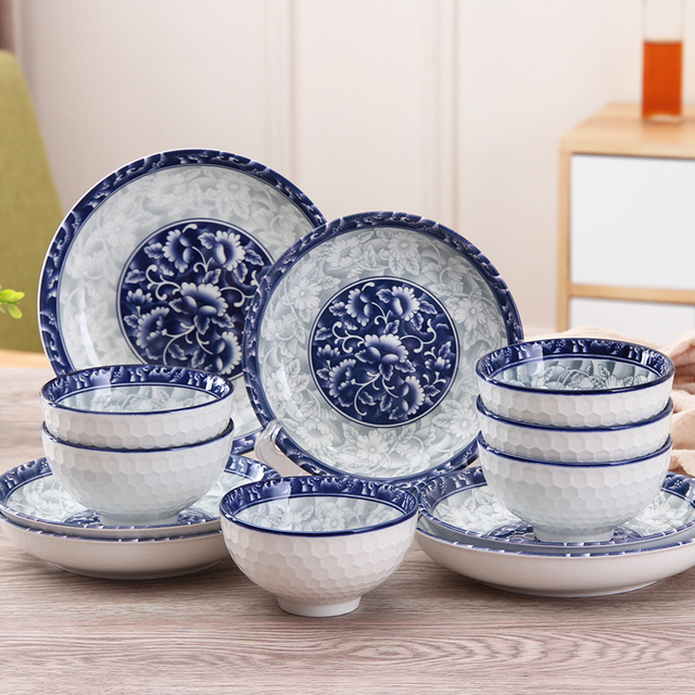 12 Pcs Blue And White Ceramic Kitchen Dinnerware Bowl Plate Dish Dinner Set  Tableware Set Porcelain