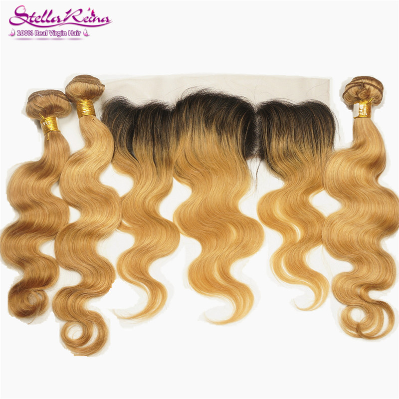 Honey Blonde Brazilian Body Wave 3 Bundles With 134