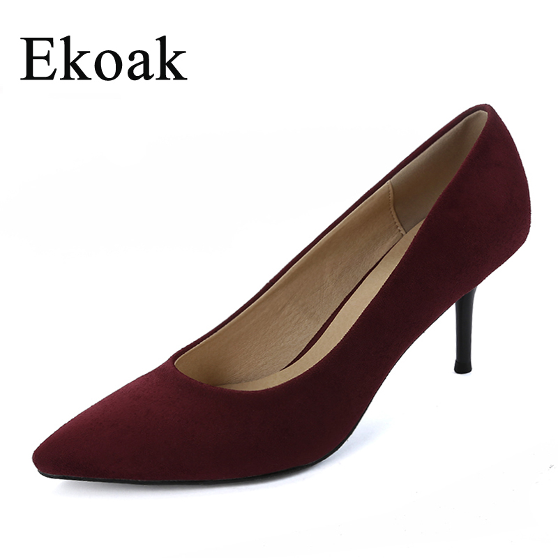 Ekoak New 2017 women pointed toe flock high heels Sexy Genuine Leather OL women pumps Fashion Handmade Sheepskin shoes woman new 2017 spring summer women shoes pointed toe high quality brand fashion womens flats ladies plus size 41 sweet flock t179