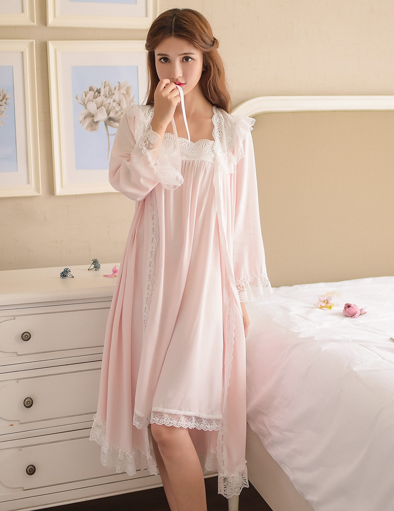 New Women Vintage Sexy Gowns Lace Cotton Princess Nightgown Ladies Casual Sleepwear Women Night wear Retro Style Dress 6895