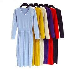 Women V-neck Long Sleeve Knitted Sweater Dress Slim Pleated Midi  New Autumn Winter Korean Fashion Lady D239