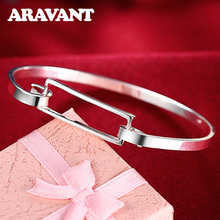 Women'S Fashion Simple Buckle Bangles Bracelets Luxury Ladies Silver Jewelry