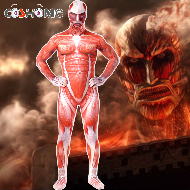 Coshome Attack On Titan Cosplay Costumes Shingeki No Kyojin Halloween Party Muscle Jumpsuit Lycra Zentai Adult Bodysuit