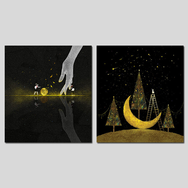 2 Pieces Dark Night Moon Black Gold Trees Stars Girls Decoration Wall Art  Pictures Canvas Paintings