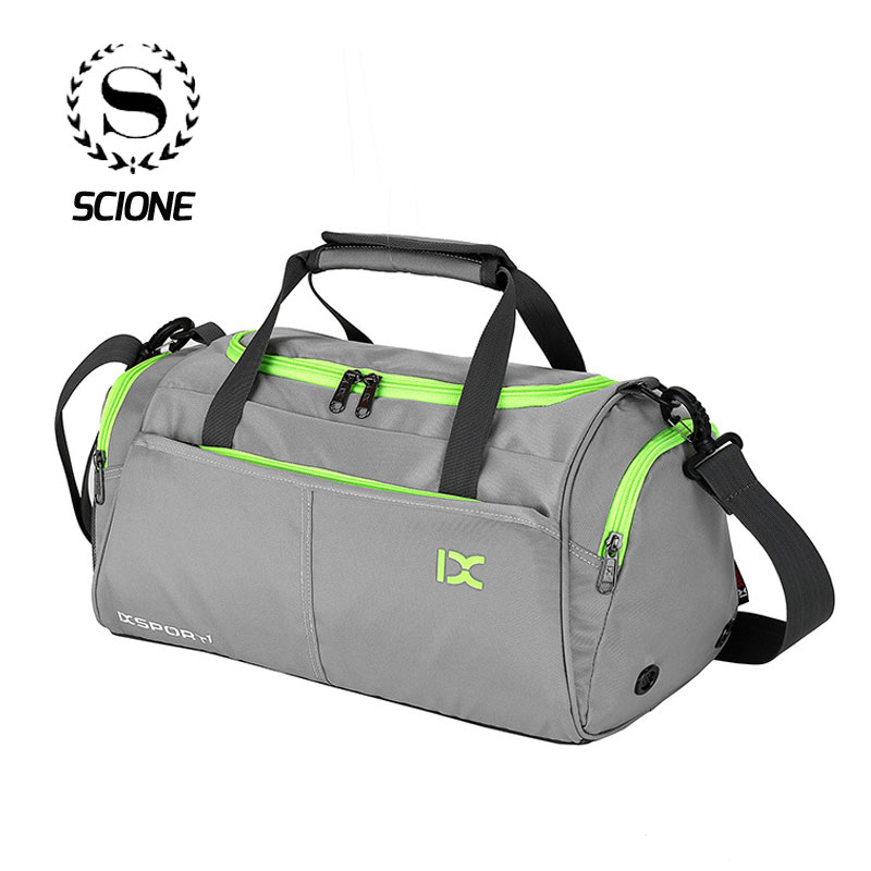 Scione Waterproof Travel Sports Bag Multifunction Training Handbag Panelled Luggage Gym Weekend Crossbody Shoe Storage Suitcase