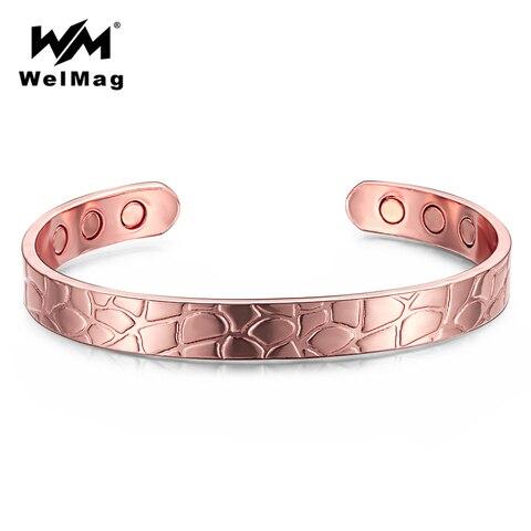 Купить мужской магнитный браслет welmag регулируемый медный браслет