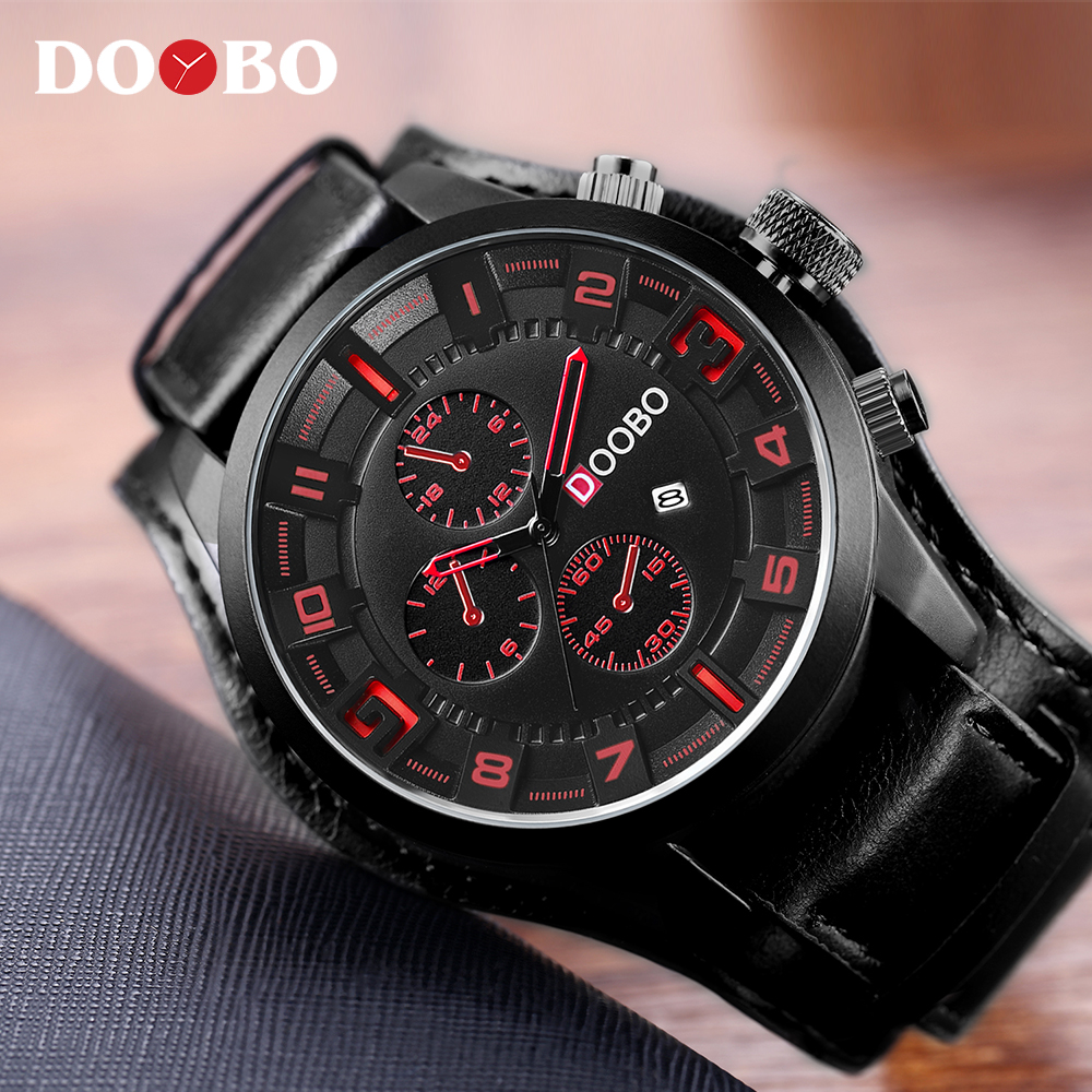 Mens Watches Top Brand Luxury DOOBO Men Watch Leather Strap Fashion Quartz-Watch Casual Sports Wristwatch Date Clock Relojes forsining date month display rose golden case mens watches top brand luxury automatic watch clock men casual fashion clock watch
