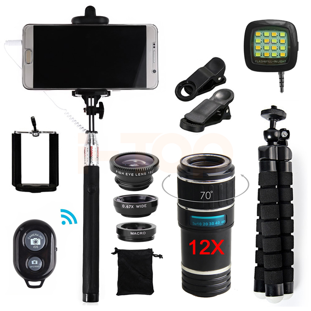 imágenes para 2017 15in1 Telefoto 12X Zoom Telescopio Lente ojo de Pez Macro Gran Angular lentes de Microscopio Para el iphone 4 5 6 s 7 8 Plus Smartphone