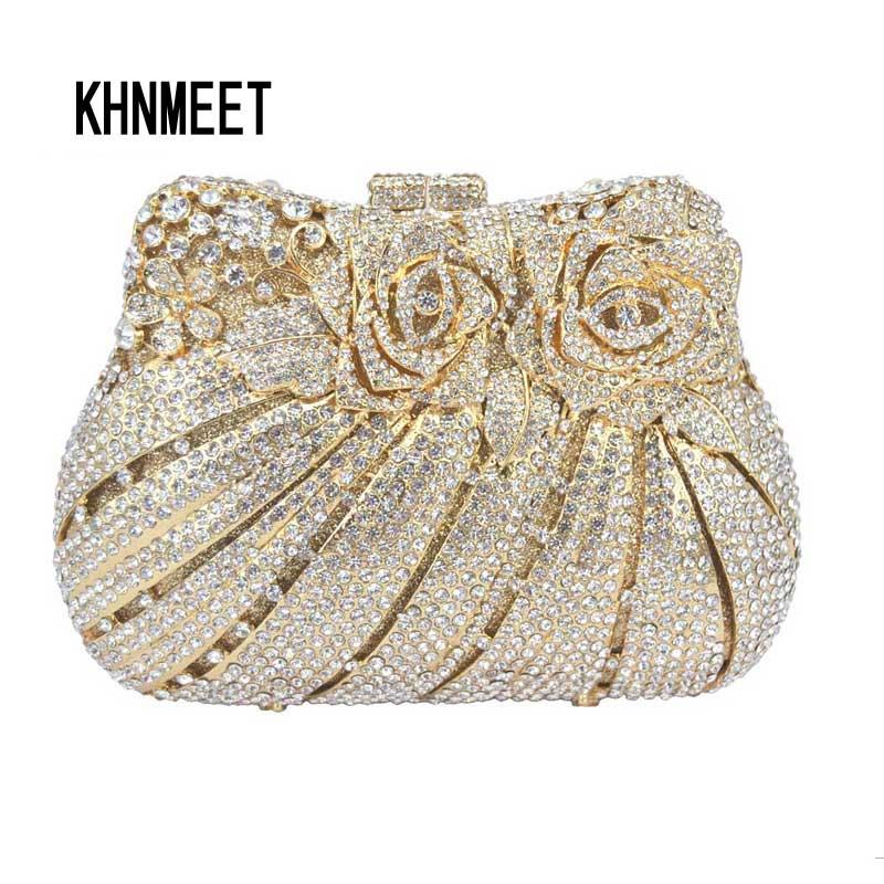LaiSC rose flower shape Luxury crystal Clutch bags bling rhinestone evening bags Gold women evening clutch