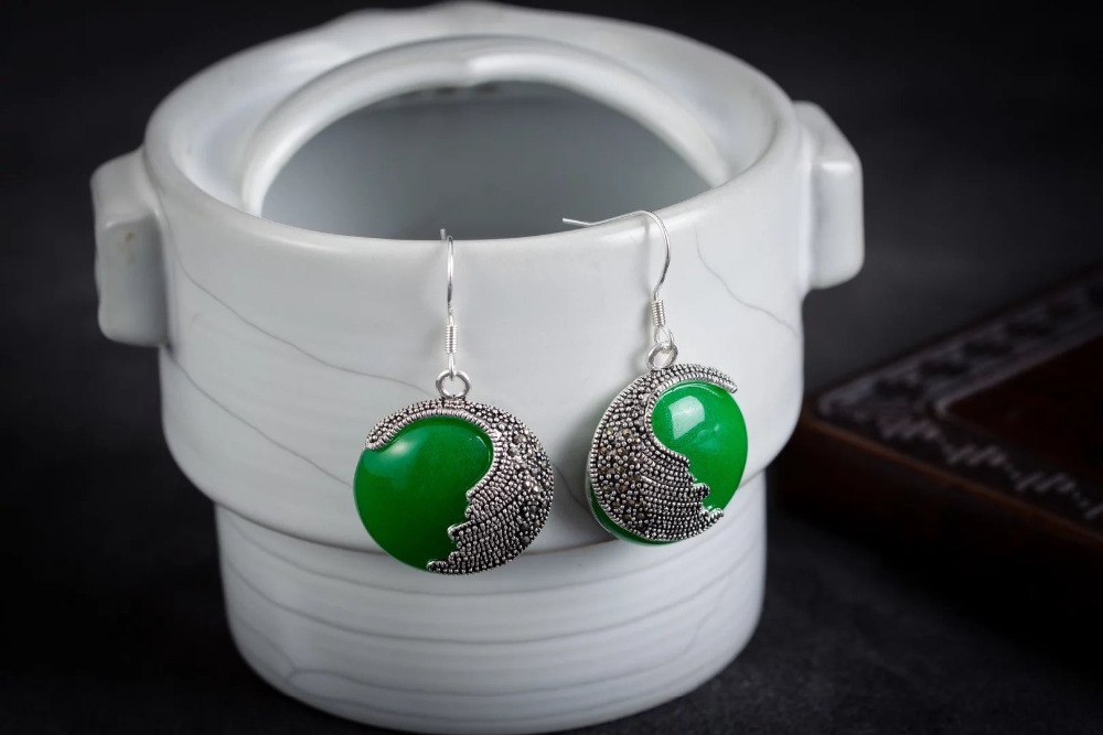 women jewelry Brincos earring Pendientes Natural Round Natural Green GEM Beads 925 Silver Hook Marcasite Earrings in Drop Earrings from Jewelry Accessories