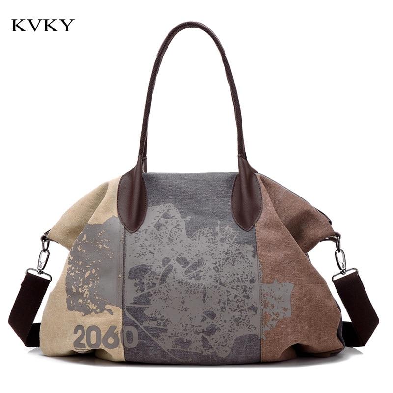 KVKY Brand 2019 Moda Canvas Bag Femei Messenger Geantă de mână Patchwork Femeie Tote Capacitate mare Casual Femei Pungi de umăr