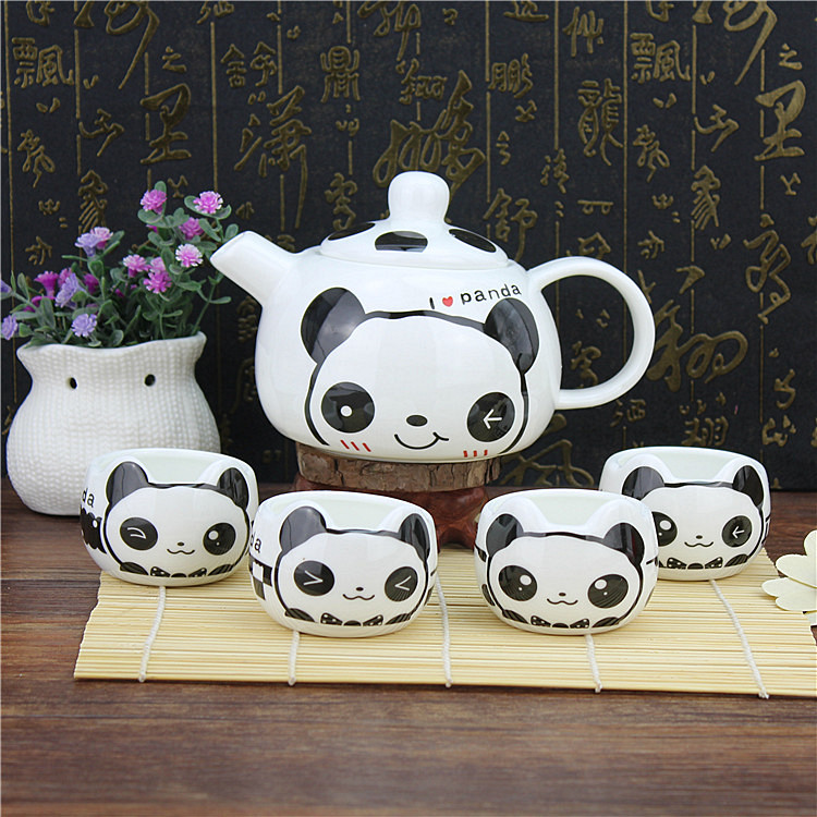 Lovely cartoon panda Coffee tea set, Chinese Style handmade ceramic pot cup 13pcsLovely cartoon panda Coffee tea set, Chinese Style handmade ceramic pot cup 13pcs