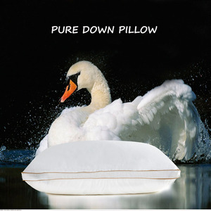 Image 1 - IHAD Bedding Down Pillow Home Textile Sleeping Pillows Goose feather Filling Cotton Fabric Soft Warm Healthy Care Neck  74X48CM