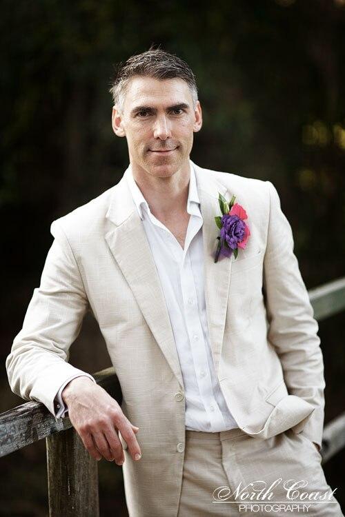 2017 Latest Coat Pant Designs Beige Ivory Linen Suits Men Wedding Summer Beach Groom Tuxedo Simple