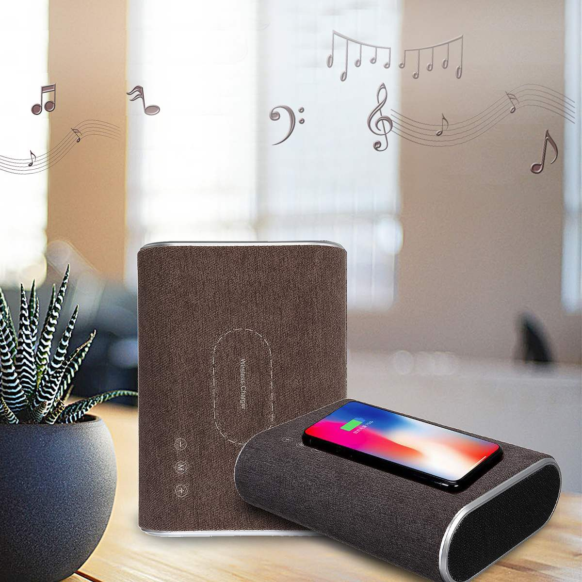 1Pcs wireless bluetooth speaker qi wireless charger Audio Mp3 music Player AUX USB portable bluetooth speaker Phone Charger nillkin cozy mc1 2 in 1 qi wireless charger hifi bluetooth speaker