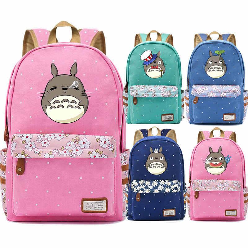 Милый аниме мультфильм Kawaii Emoji Тоторо цветок точка мальчик девочка школьная сумка для женщин Рюкзак Школьная Сумка для подростков холст Femme рюкзак 9