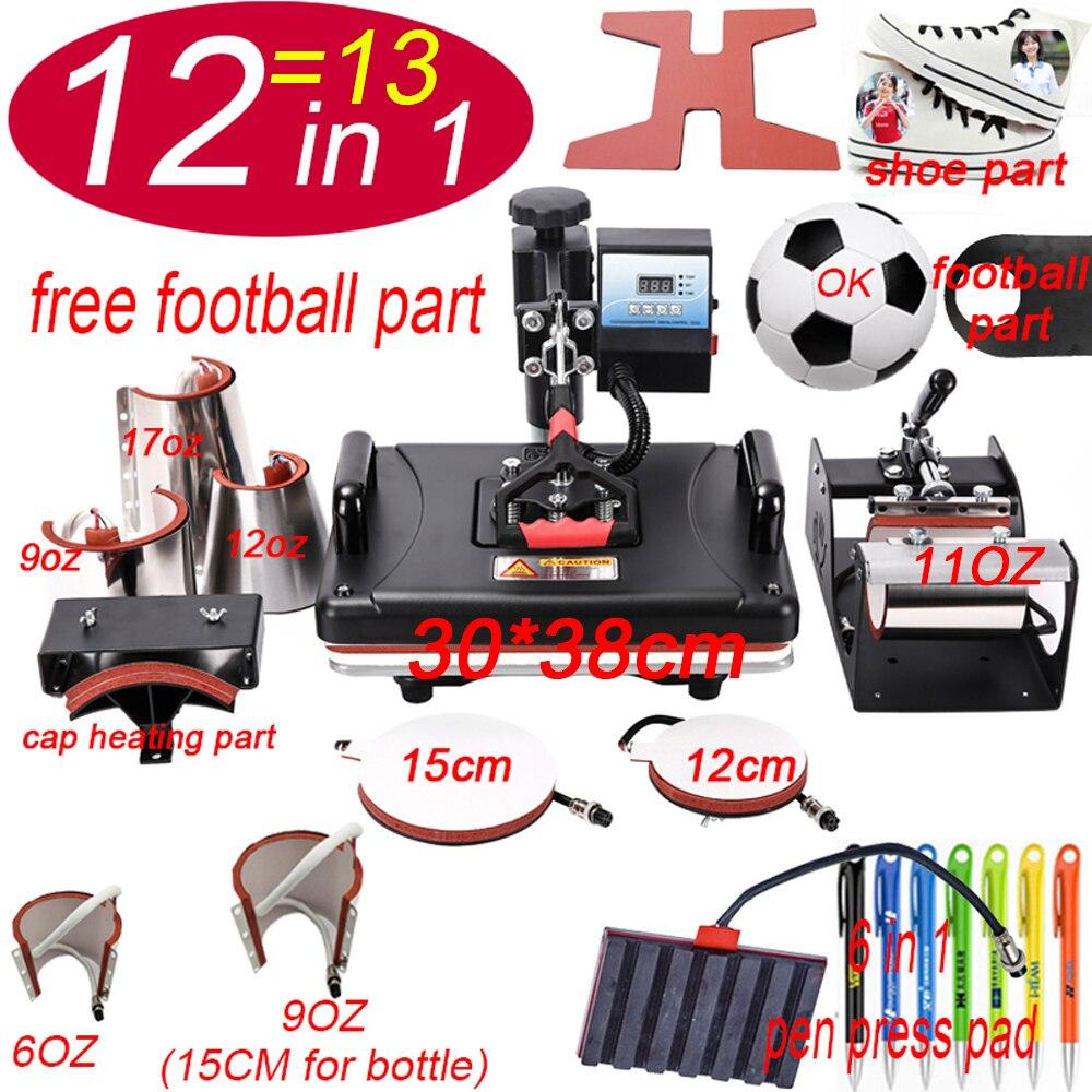 12 dans 1 Machine de presse de stylo de chaleur, imprimante de Sublimation/Machine de transfert de chaussure presse de chaleur pour la tasse/chapeau/t-shirt/chaussure/bouteille/stylo/football