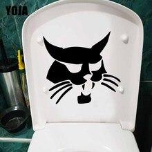 YOJA 24,4X24,8 см черный с бортовым поворотом Bobcat кошка лицо сиденье для унитаза Наклейка на стену Наклейка T5-0268