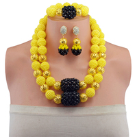 Yellow Black New African Wedding Beads Jewelry Set Nigerian Bridal Jewelry Sets Crystal Beads Statement Necklace 2017 Free Shipp