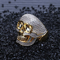 Lucky Sonny Gold Color Skull Rings Fashion Men Jewelry Hiphop Bling Ring Bijoux Cubic Zirconia Micro Paved Anillo Anel Semijoyas