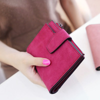 Lady Letter Snap Fastener Zipper Short Clutch Wallet Solid Vintage Matte Women Wallet Fashion Small Female