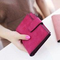 Lady Letter Snap Fastener Zipper Short Clutch Wallet Solid Vintage Matte Women Wallet Fashion Small Female