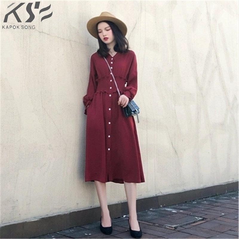 2018 Autumn women s dress new spring and autumn long sleeved dress lean waist retro red