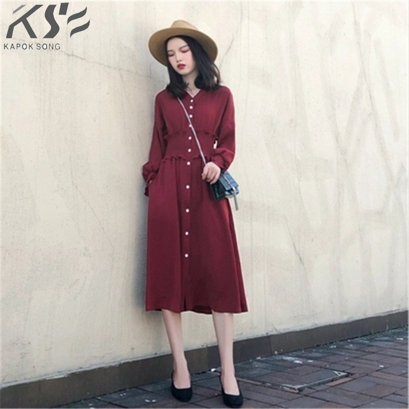 2018 Autumn women's dress new spring and autumn long sleeved dress lean waist retro red dress-in Dresses from Women's Clothing    1