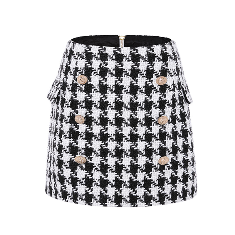 Pencil Skirt Women Sexy High Waist Plaid Mini Short Skirt Casual Women Office Lady Double-breasted mini skirt
