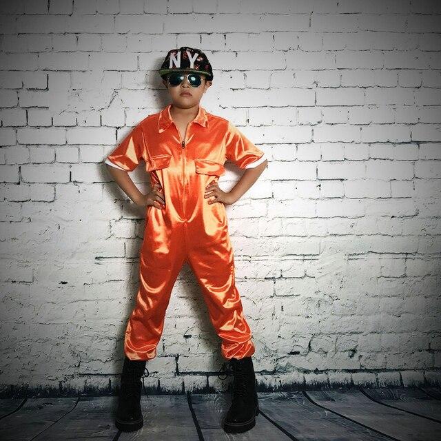 ヒップホップダンス衣装パフォーマンスの摩耗の女性ロンパースヨーロッパオレンジワンピースパンツゆるいオーバーオールハーレムジャズジャンプスーツ