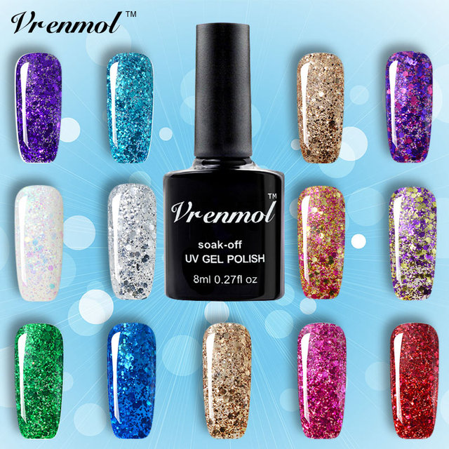 Vrenmol Diamond Glitter Gel Nail Polish Soak Off Semi Permanen Uv Led Shimmer Diy Art