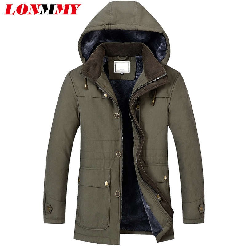 LONMMY 4XL Winter jacket men plush thick liner cashmere coat Hooded parka men Warm cotton jacket Army green Blue Coffee 2017