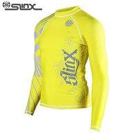SLINX צהוב גברים בחולצות בגדי הגנה מפני שמש בגדי גלישה חליפת בגדי מדוזה חליפת צלילה הדוק לגוף עם שרוולים ארוכים