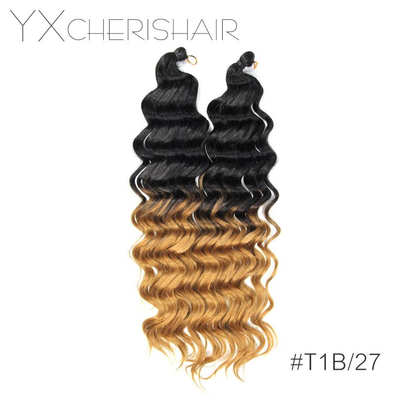 "4pc/Pack 20"" 80G Synthetic Yaki Hair Extensions Crochet Braids Deep Wave Bundles Weave Natural Wavy Body Wave Hair YXCHERISHAIR"