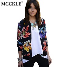 MCCKLE 2017 Autumn font b Women b font Floral Print Bomber font b Jacket b font