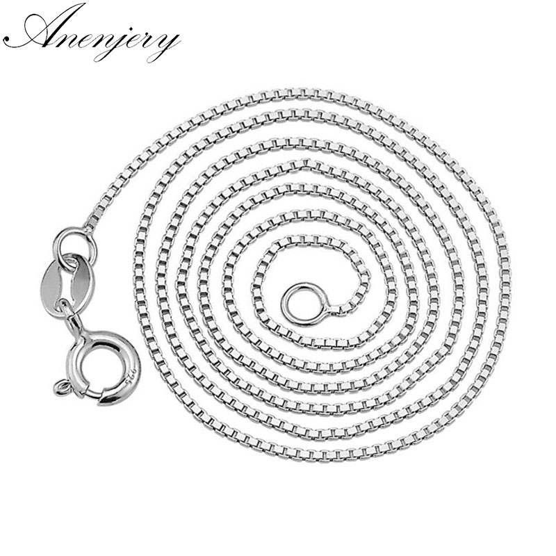 Anenjery 925 Sterling Silver Box Chain Necklace Use Pendants Charms Women Colar SN43Diameter 1 Mm