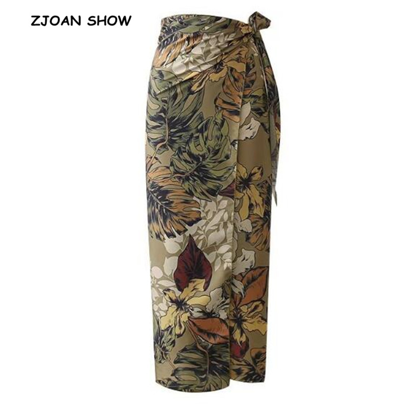 Sexy Flower Leaves Print Bow Tie Sashes Wrap Skirt Vintage Women High Waist Slim Fit Mid-Calf Long Pencil Skirts Holiday