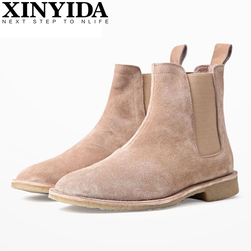 Luxury Brand Vintage Genuine Leather Men Boots Chelsea Kanye West Boots Fashion Sexy Platform Botas Mens Martin Shoes Plus Size justin bieber fear of god ankle boots 100% genuine leather kanye west boots men casual shoes fog platform botas knight boots