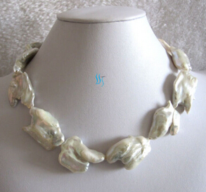Jew3116 White AA+ Keshi Freshwater Pearl Necklace (A0329)