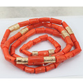 "Natural Coral Beads Set 2016 New Nigerian African Wedding Groom Beads Necklace Jewelry Set 54""inches For Men Free Shipping CJ772"