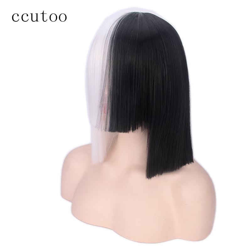 ccutoo 35cm Sia Half White och Black Full Bangs Syntetisk Hair Cosplay Paryk För Halloween Party Kostym Parykar Hår