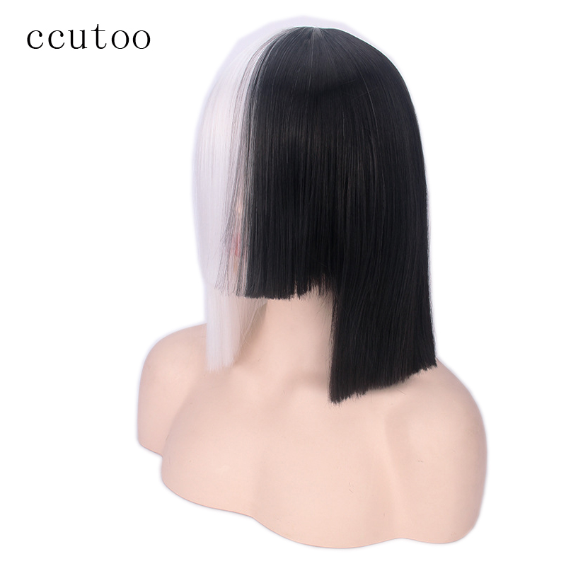 ccutoo 35cm Sia Half White and Black Full Bangs Włosy syntetyczne Cosplay Peruki na Halloween Party Costume Peruki Włosy