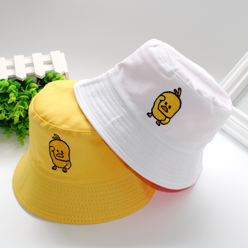 New Cartoon Duck Pattern Funny Embroidery Panama Fashionable Hats Men 39 s and Women 39 s Cotton Outdoor Casual Hip Hop Fisherman Hats in Women 39 s Bucket Hats from Apparel Accessories