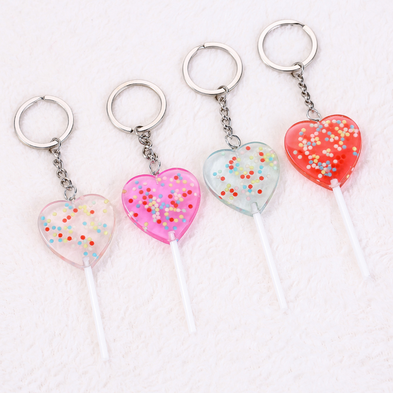1PC Cute Heart Lollipop Keychain Flatback Resin Pendant Charms Resin Dessert Keyring For Woman