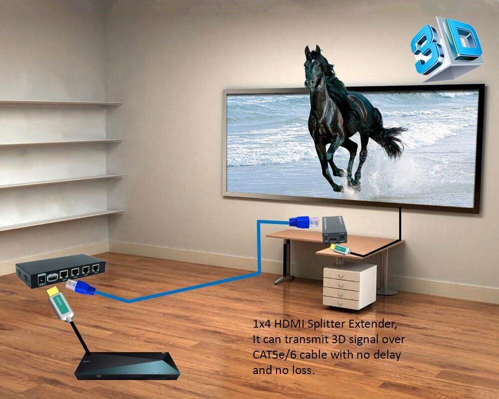 Новые 1x4 HDMI сплиттер Extender 60 м над UTP RJ45 CAT5e CAT6 кабель с без задержки без потери 1 hdmi передатчик и 4 HDMI приемник