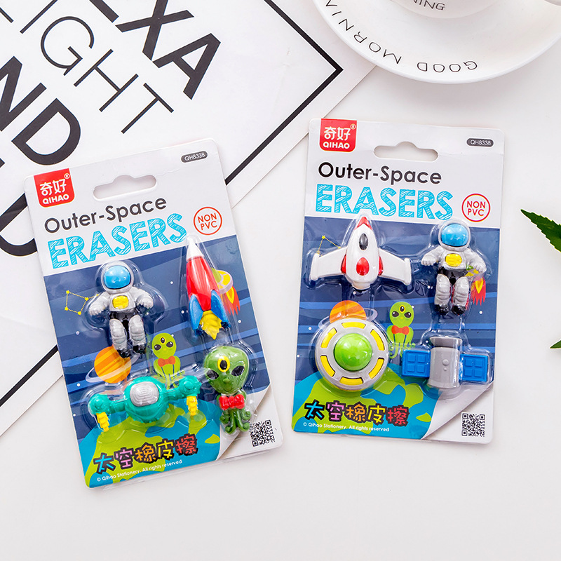 Creative Cartoon Novelty Eraser, 1set Outer Space Kawaii Spaceman Cute Alien Student Gift Stationery Set Boy's Gift